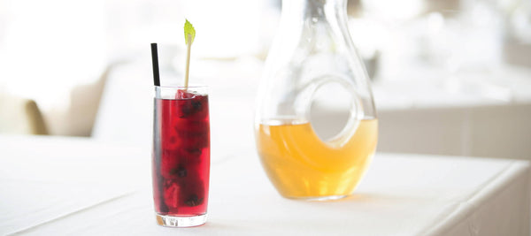 Lemon Verbena Iced Tea with Berry Ice Cubes