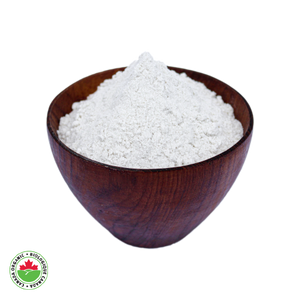 Organic Brown Rice Flour in a teak bowl - HAMA Organics