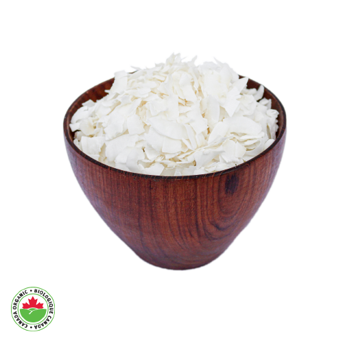 Organic Coconut Chips in teak bowl - HAMA Organics