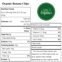 Load image into Gallery viewer, Organic Banana Chips - Nutritional Values - HAMA Organics