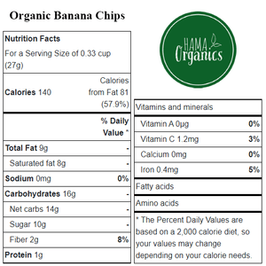 Organic Banana Chips - Nutritional Values - HAMA Organics