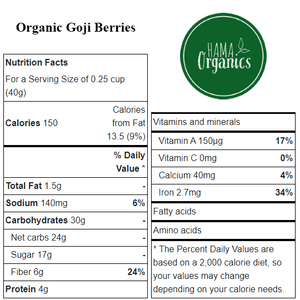 Organic Goji Berries - Nutritional Values - HAMA Organics