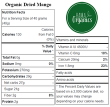 Load image into Gallery viewer, Organic Sliced Mango - Nutritional Values - HAMA Organics