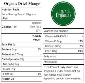 Organic Sliced Mango - Nutritional Values - HAMA Organics