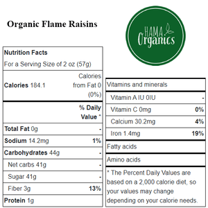 Organic Flame Raisins - Nutritional Values - HAMA Organics