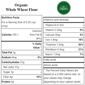 Organic Whole Wheat Flour - Nutritional Values - HAMA Organics