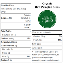 Load image into Gallery viewer, Organic Raw Pumpkin Seeds - Nutritional Values - HAMA Organics
