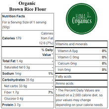 Load image into Gallery viewer, Organic Brown Rice Flour - Nutritional Values - HAMA Organics