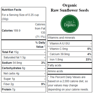 Organic Raw Sunflower Seeds - Nutritional Values - HAMA Organics