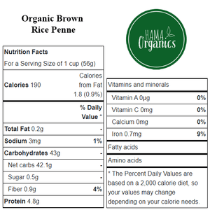 Organic Brown Rice Penne - Nutritional Values - HAMA Organics