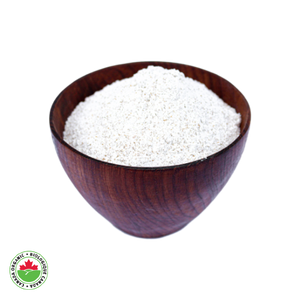 Organic Whole Wheat Flour in a teak bowl - HAMA Organics