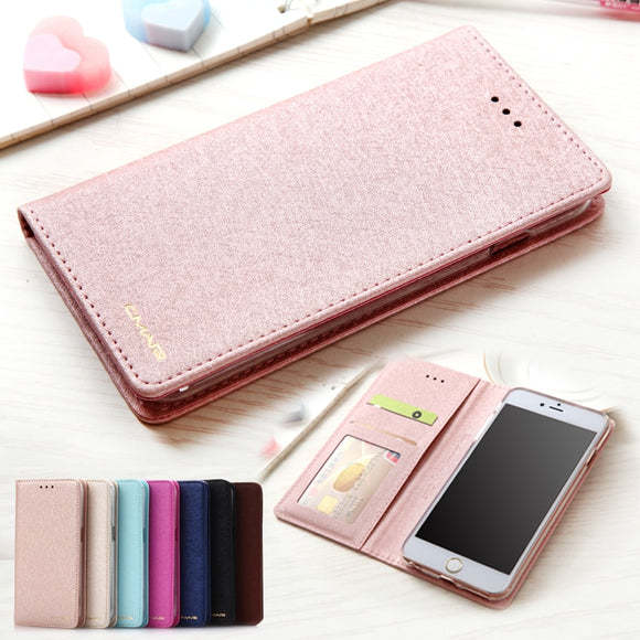 Silk Leather Wallet Case For iPhone 7 8 Plus X XS Max XR 11 Pro Max 5 5s SE Phone Cover With Magnet Card Holder Flip Coque