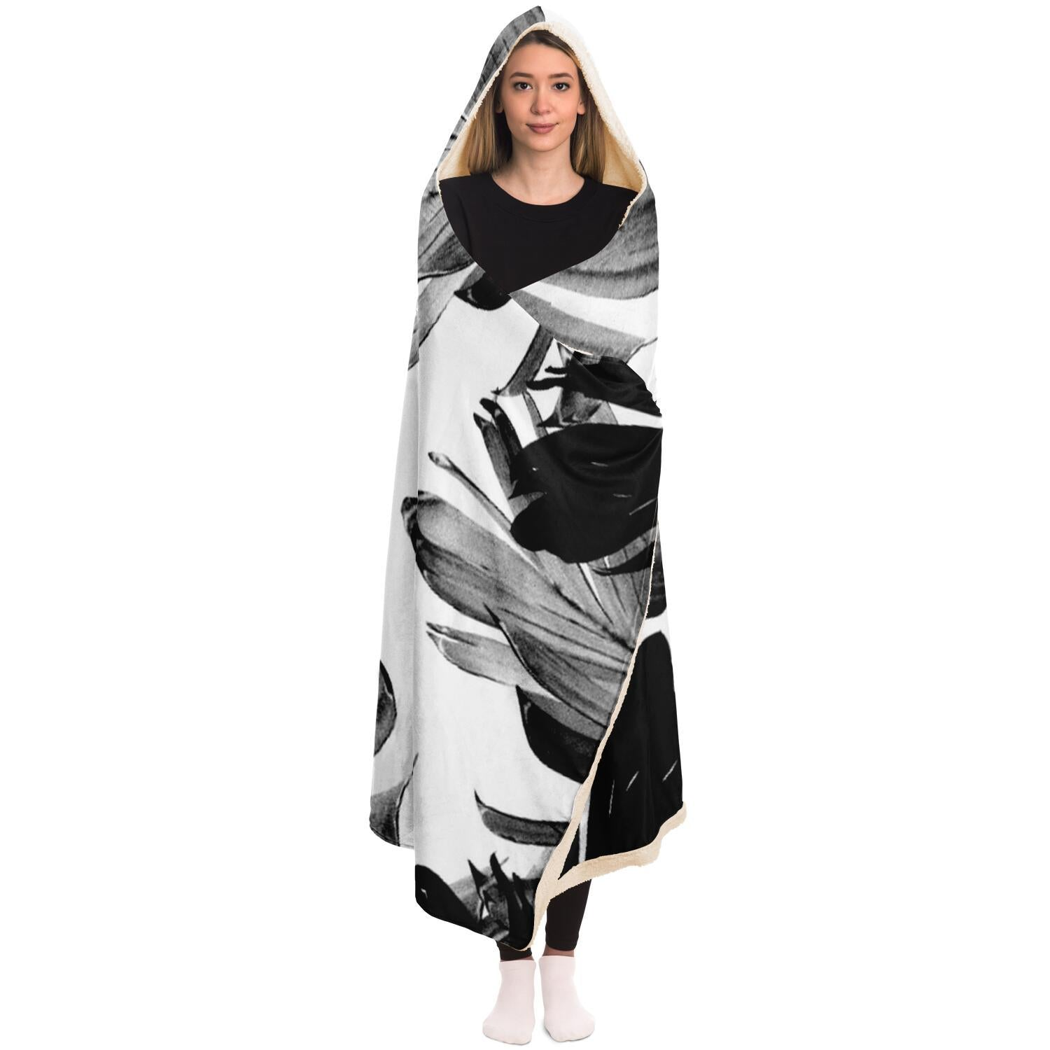 Tropical Banana Leaves Pattern Hooded Blanket