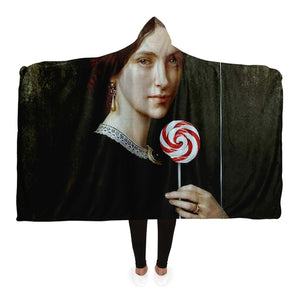 Portrait Of Woman With Lollipop And Balloon Hooded Blanket