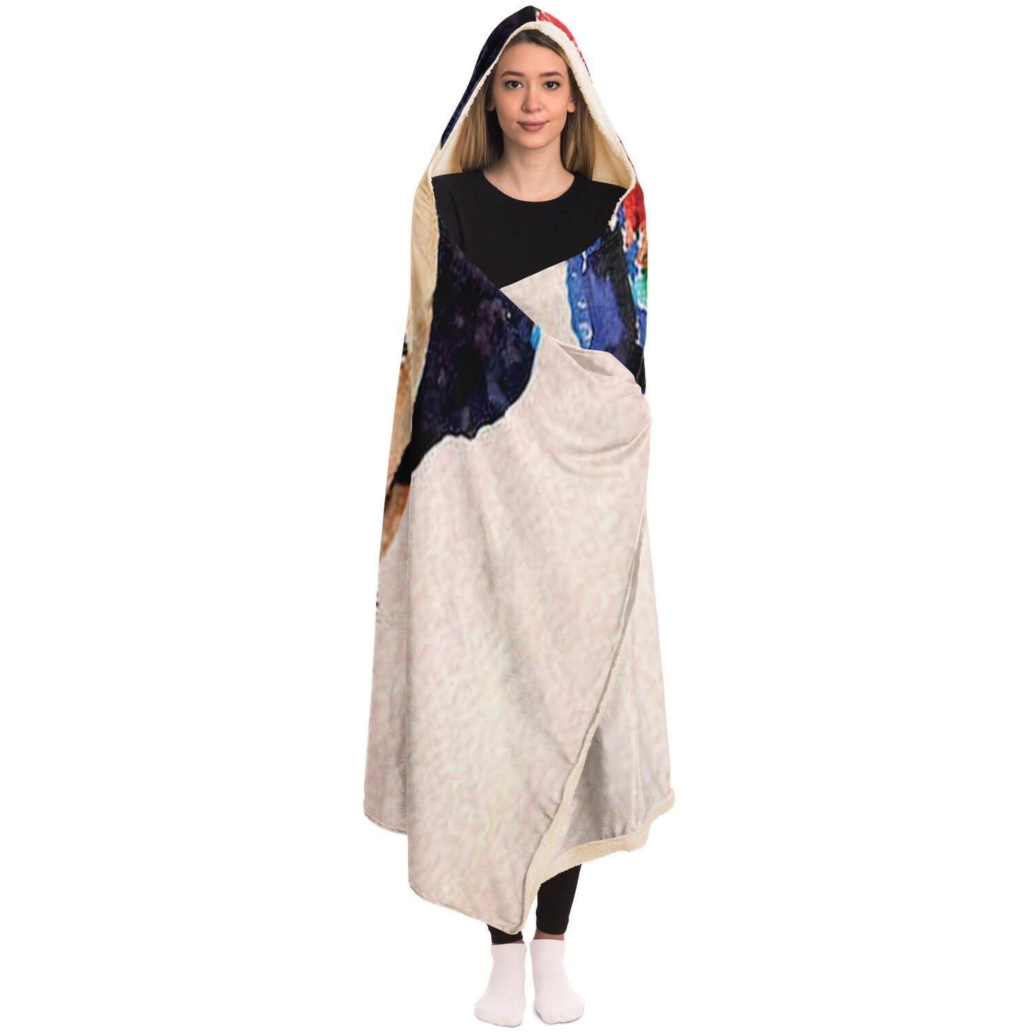 Frida Navy Hooded Blanket