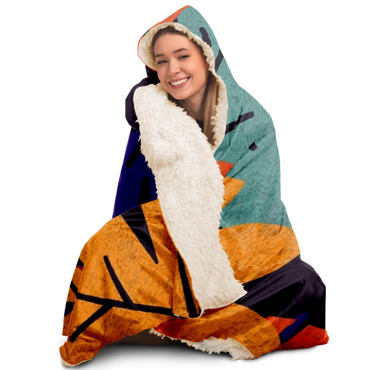 Flora Pattern Hooded Blanket