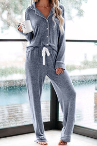 Blue Long Sleeve Button Down Pant Pajama Set
