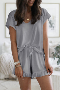 Gray Super Soft Loose T-shirt Ruffle Shorts Pajamas Set