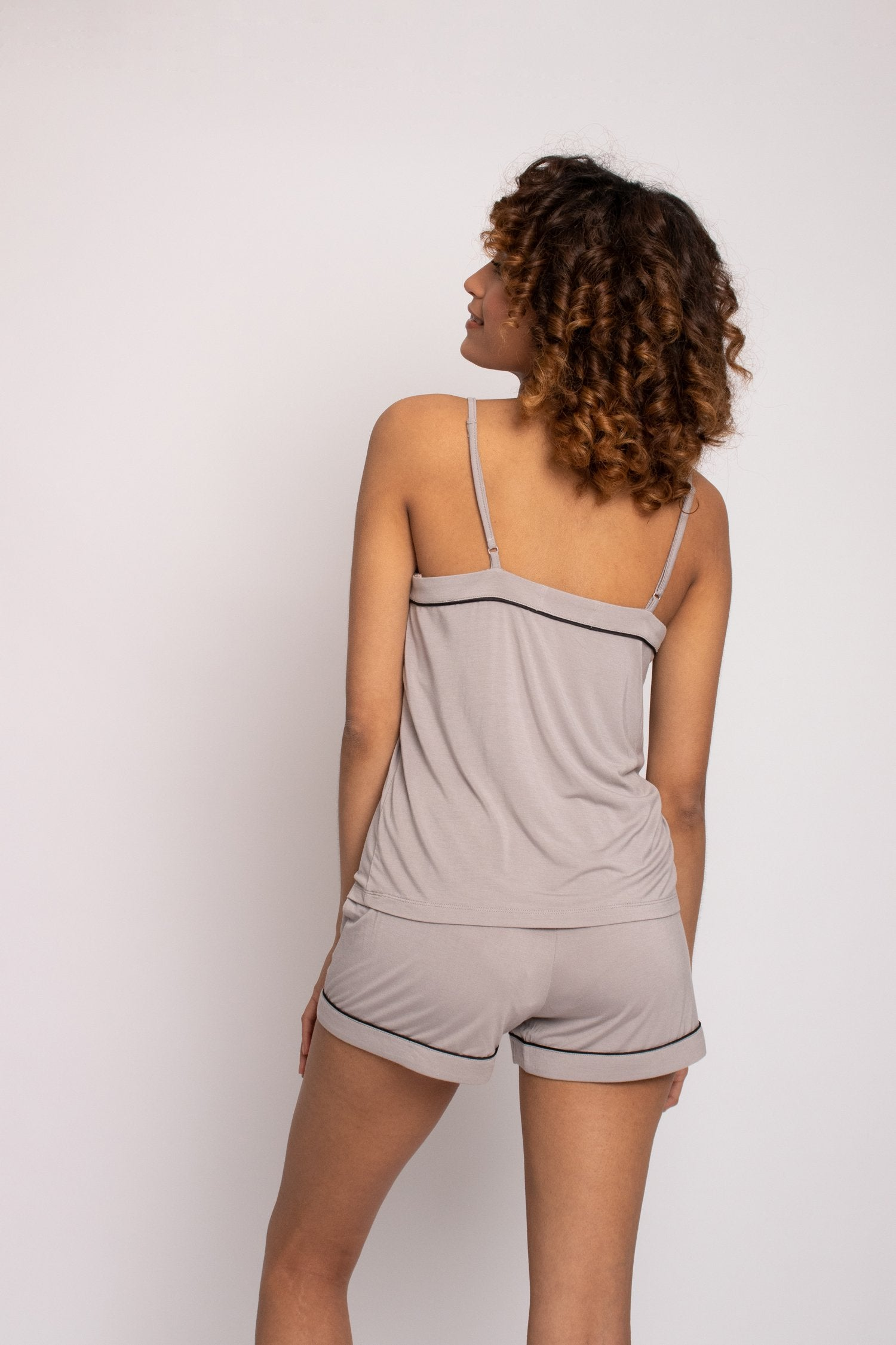 Bamboo Cami Short Pajama Set in Mink