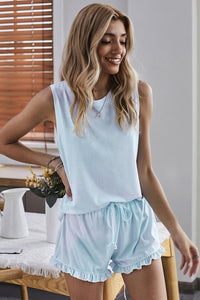 Light Blue Swingy Tank and Ruffled Shorts Loungewear