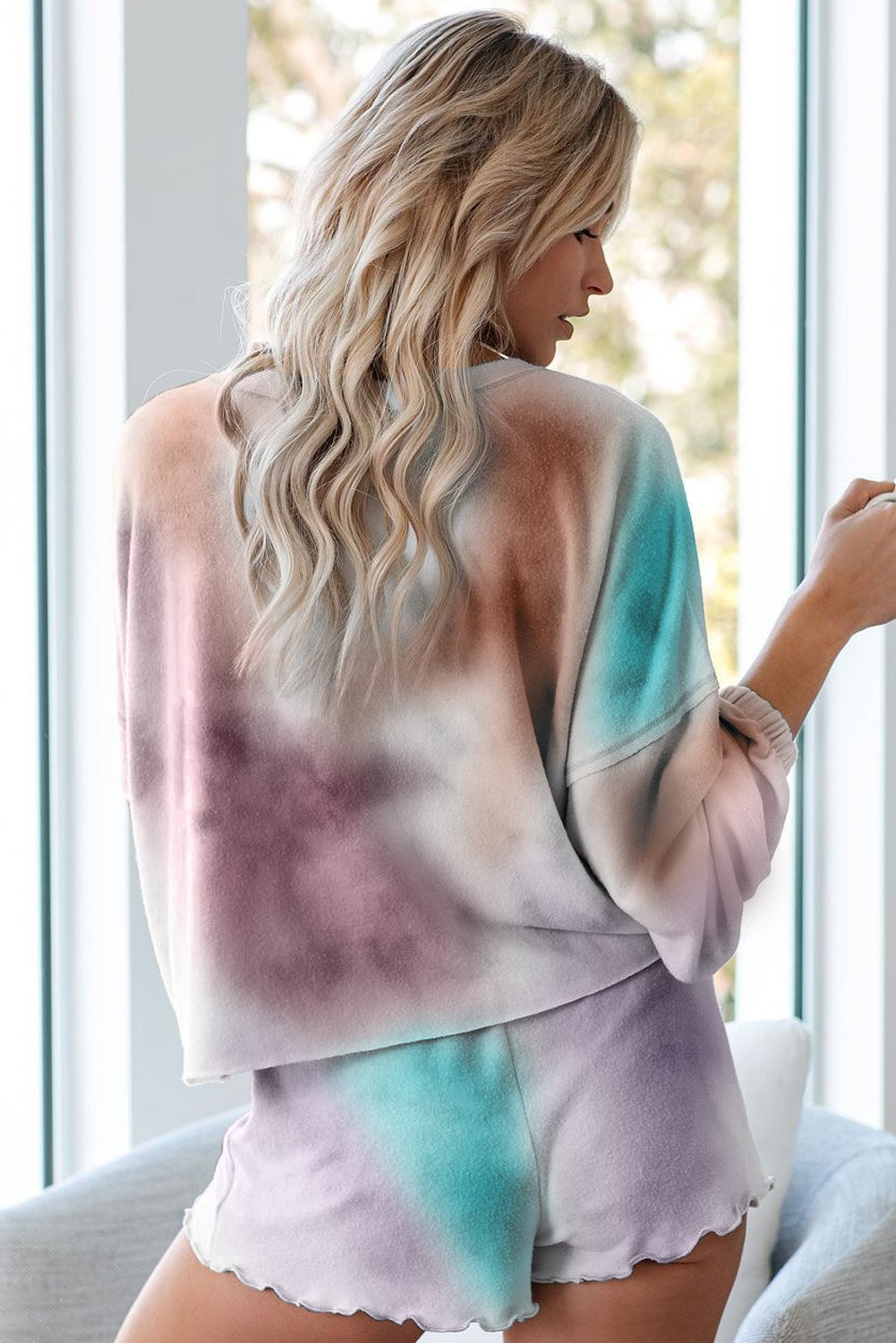 Multicolor Tie Dye Knit Long Sleeve Pajamas Set