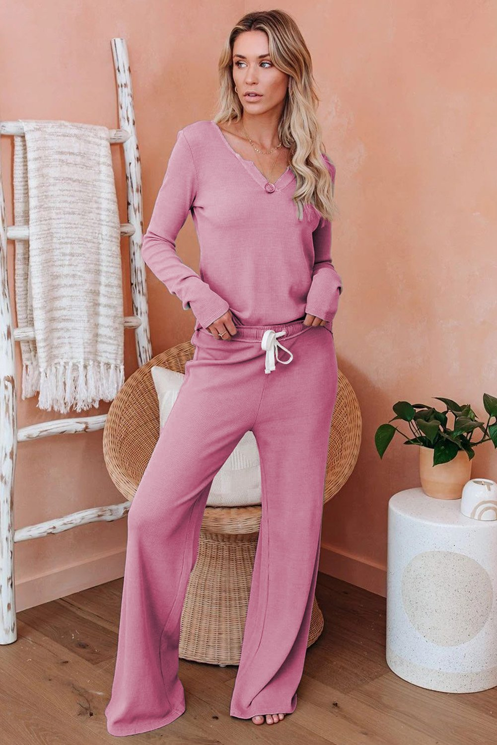 Pink Cotton Modal Long Sleeve Shirt and Pants Loungewear