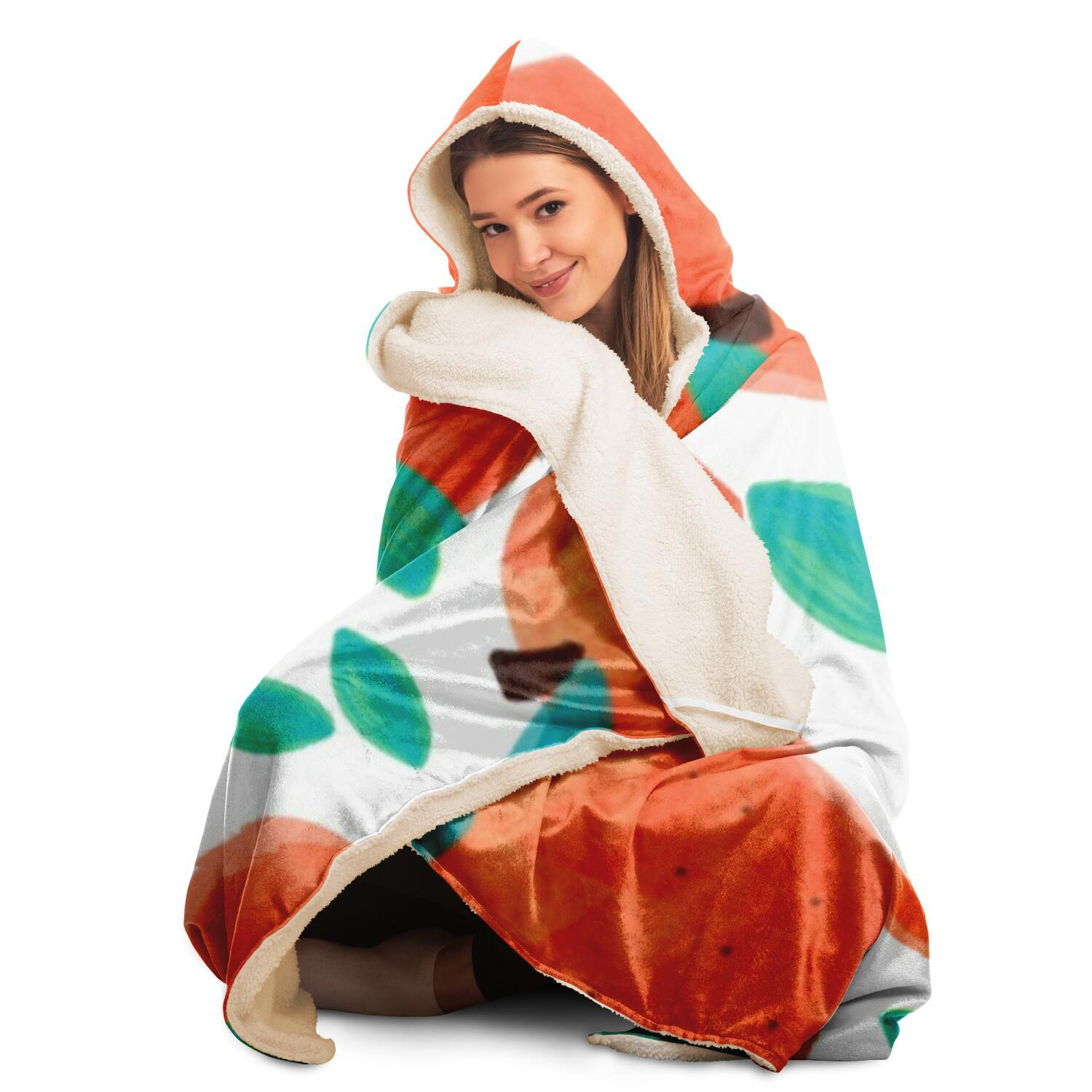 Fruit Pattern Hooded Blanket
