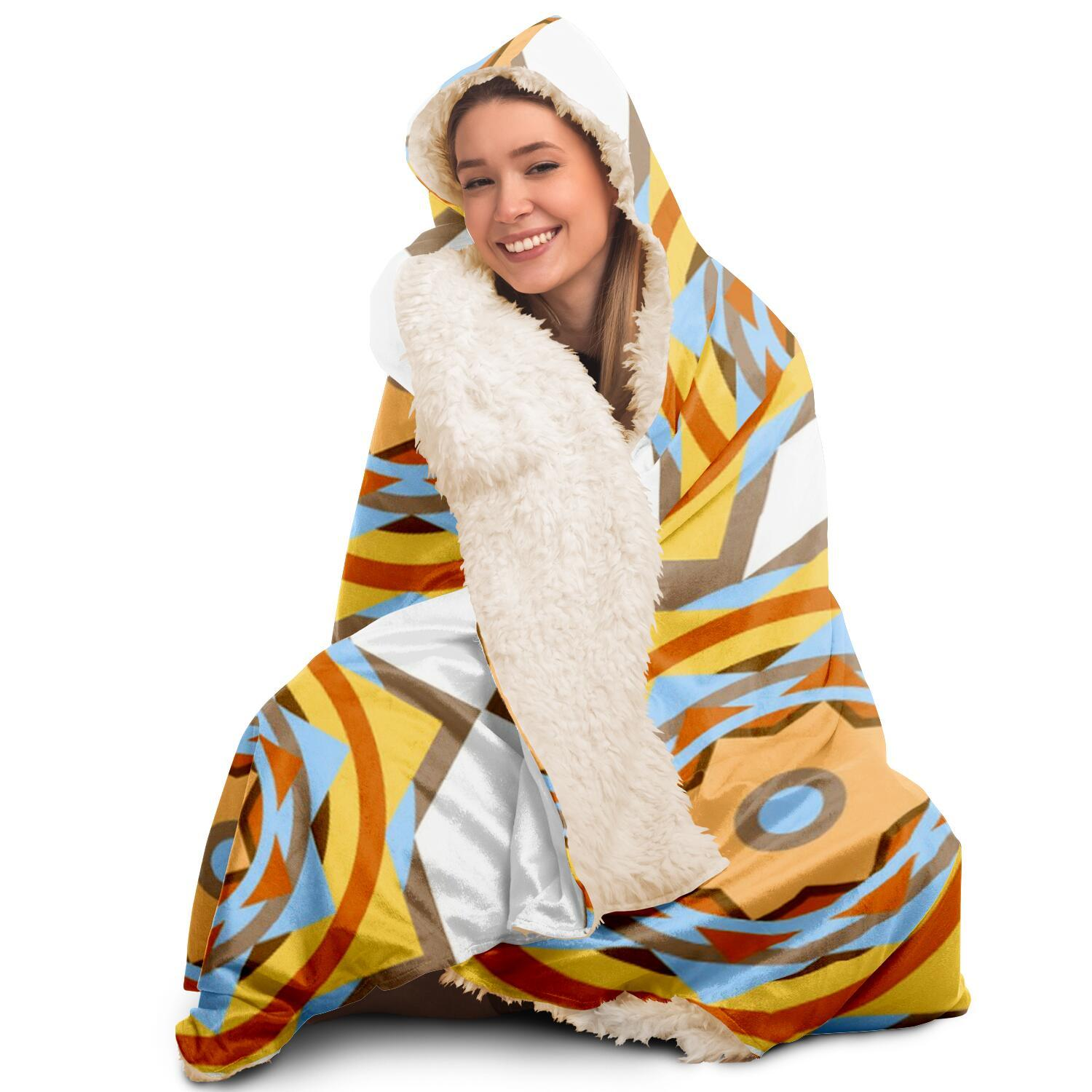 Graphic Pattern Hooded Blanket