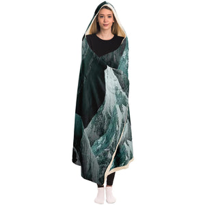 Mountain Sonnet Moonlit Stanza Hooded Blanket