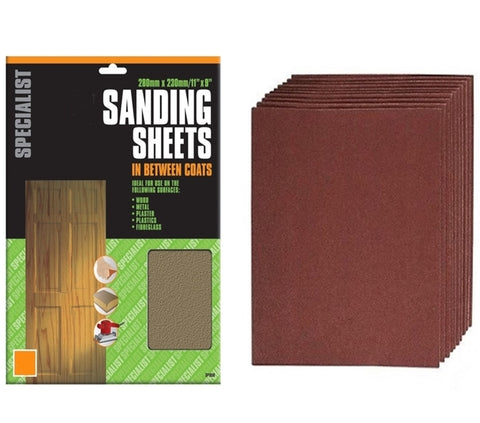 Sand Paper Sheets (280mm x 230mm) Range Of Grit 60-240 (5 Single Sheets)