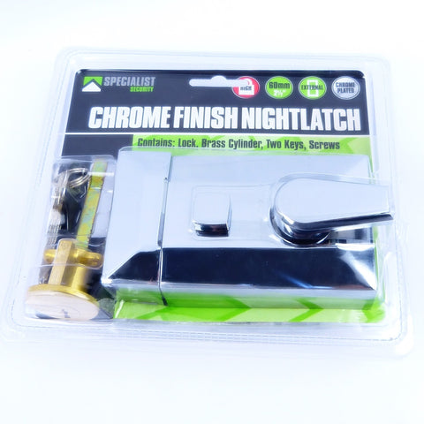 Chrome Finish Nightlatch 60mm