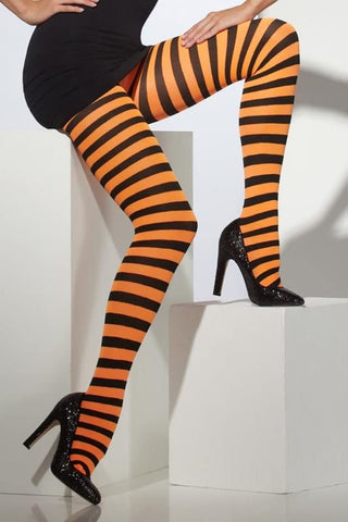 Smiffys Halloween Orange & Black Striped Tights - Adult One Size