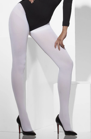 Smiffys White Fancy Dress Tights - Adult - One Size