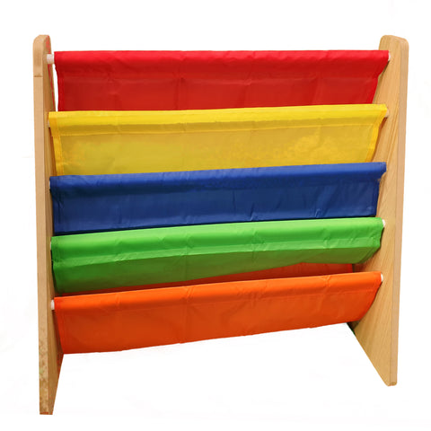 Children's Fabric Bookshelf Rainbow Colour 4 Tier