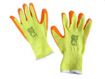 Latex Coated Orange Rubber Safety Work Gloves