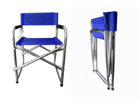 Aluminium Directors Folding Chair (Black/Blue)