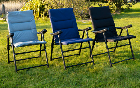 Cushioned Folding Outdoor Chair - Grey/Black/Navy
