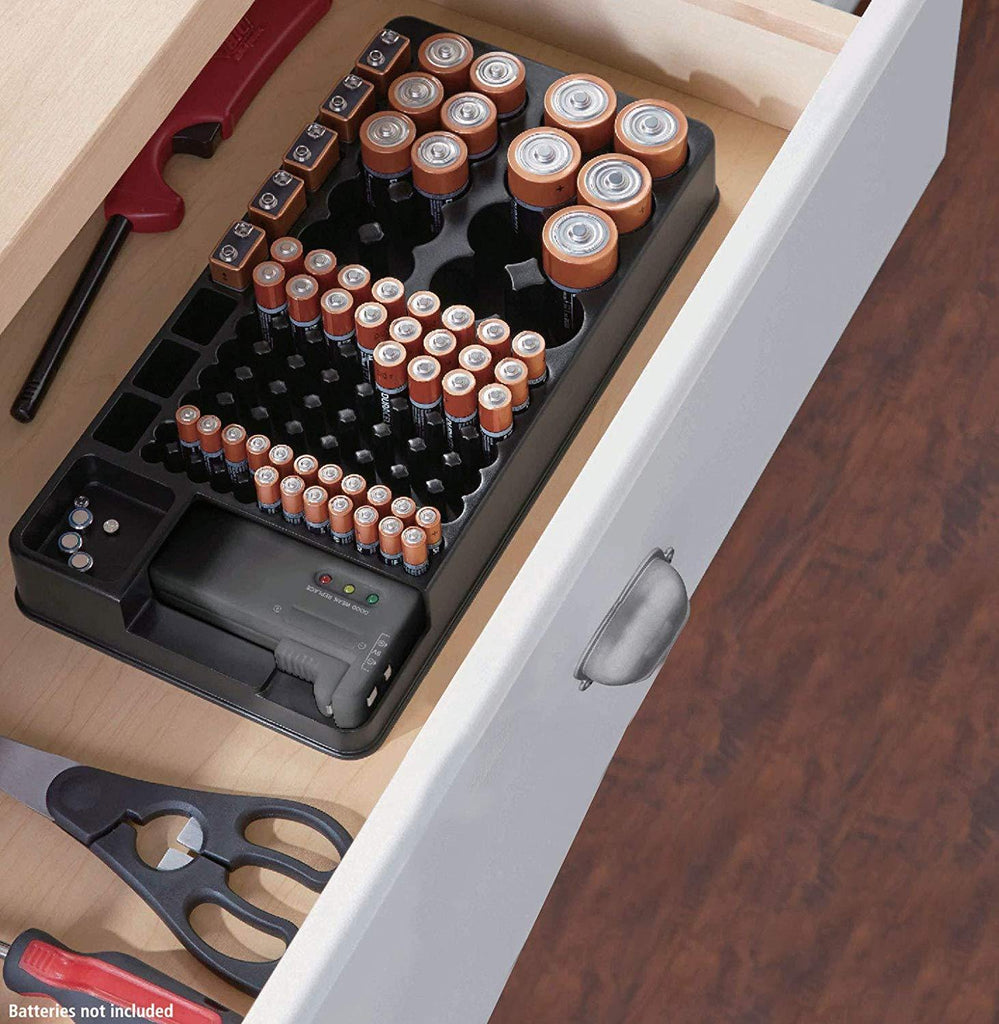 Battery organizer with energy tester - RingeRaya.com