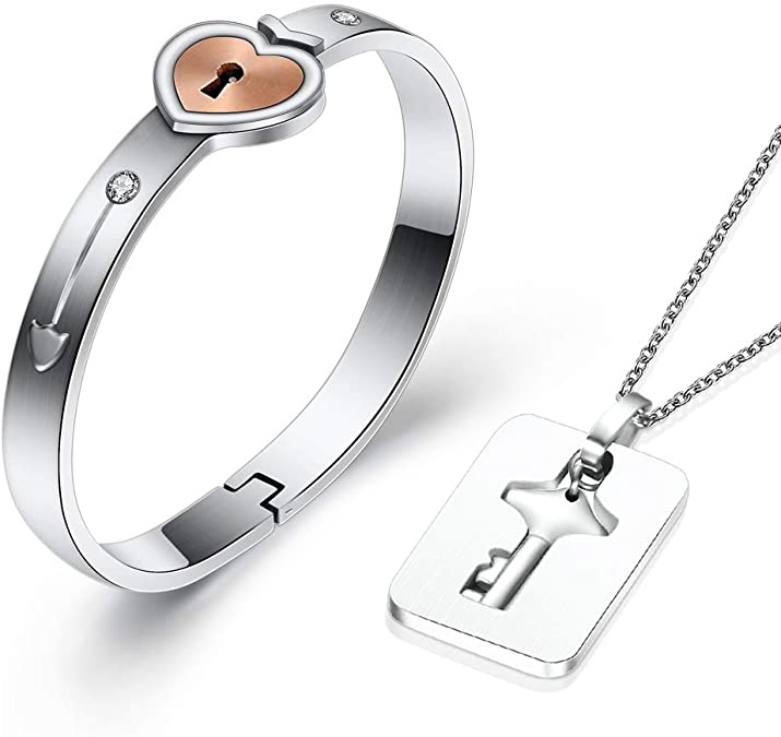 Heart Lock Bracelet & Key Necklace Set