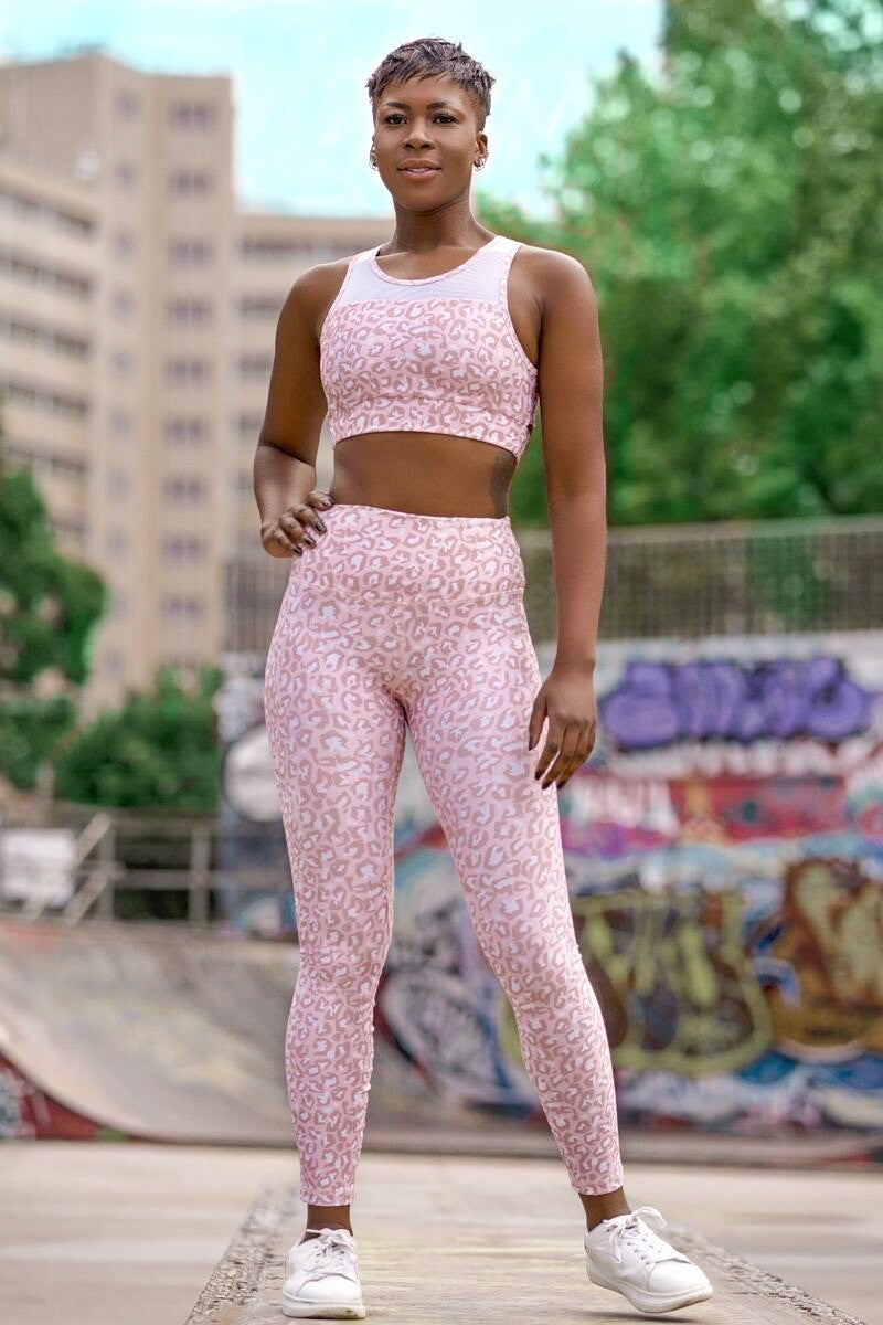 Salmon Pink Leopard Crop Top