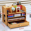 Image of Desktop Wooden Office Multi-layer File Rack Organizer with Drawer