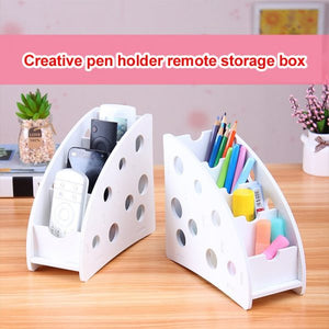 Desk Organizer Wood Storage Box for Remote Control
