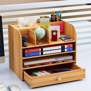 Desktop Wooden Office Multi-layer File Rack Organizer with Drawer