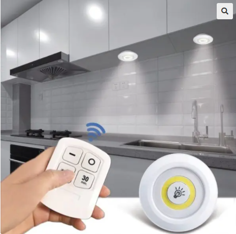 Image of Dimmable LED Under Cabinet Light with Remote Control Stick-On Touch Tap Lamp LED Light (1Remote 3Lamp White)