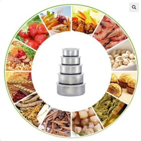 Image of 5 Pcs Stainless Steel Food Storage Bowls