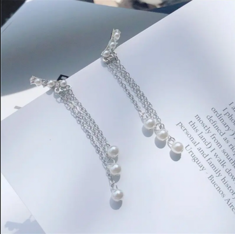 Image of Earrings Tassel with Pearl Earrings for Women
