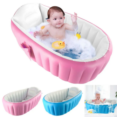 Image of Inflatable Baby Bath Swimming Tubs Thickening Children Bathtub Bucket Basin Portable Safety Thick Bathtub for Newborns Keep Warm