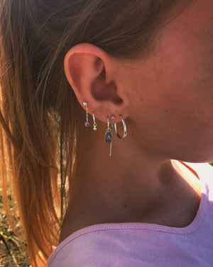 ♕ Tag Hoop Earring - Personalized ~ Silver
