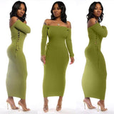 Off Shoulder Knit Dress-Women - Apparel - Dresses - Day to Night-MiKlahFashion