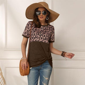Leopard PatchWork T-Shirt-Women - Apparel - Activewear - Tops-MiKlahFashion